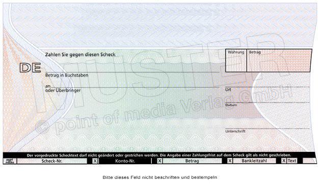 Berühmt Bankscheck Vorlage Ideen - Dokumentationsvorlage Beispiel ...